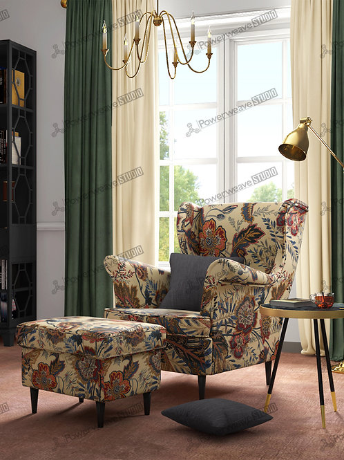 Majestic Sofa and Pouf in Living Room