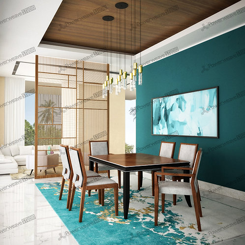 Turquoise Themed Modern Dining Set