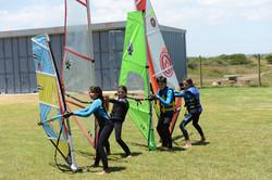Windsurfing training on land
