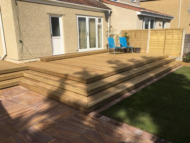Raised Decking & Sandstone patio