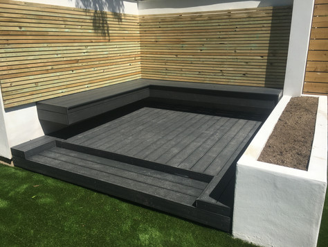 Bepsoke composite decking with seating