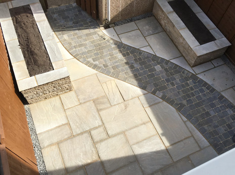 Indian Riven Sandstone with Bradstone rumbled block path