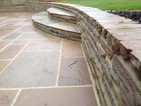 Sandstone retaining walling & Steps