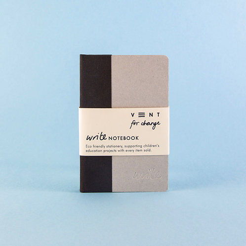 Sustainable A6 Write Notebook – black lined paper
