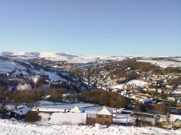 Looking down on the shop in the centre of Holmfirth in the winter
