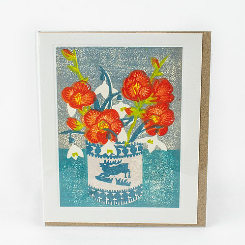Japonica and Snowdrops Card