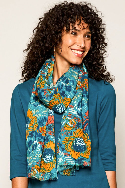 Nomads Petal Viscose Scarf – Turquoise
