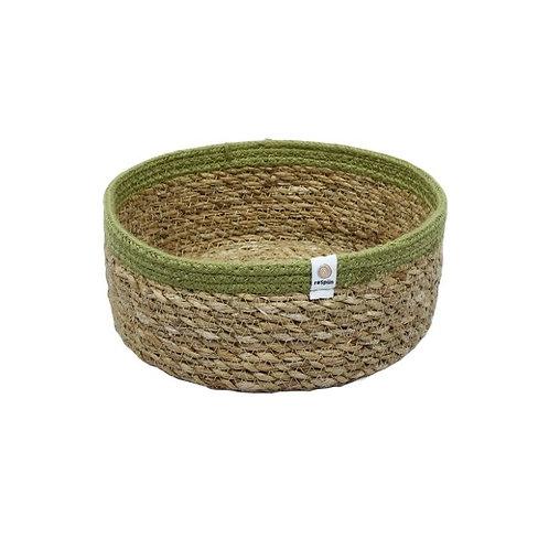 Shallow Seagrass & Jute Basket - Green