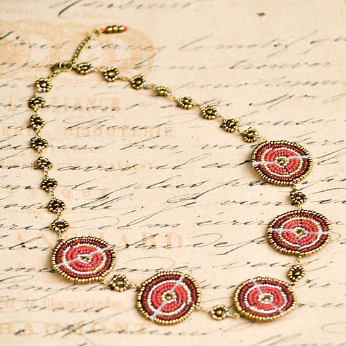 RedTribe Maasai Beadwork Necklace - Red and Gold