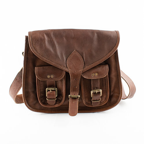 Paper High Satchel Style Leather Saddle Bag