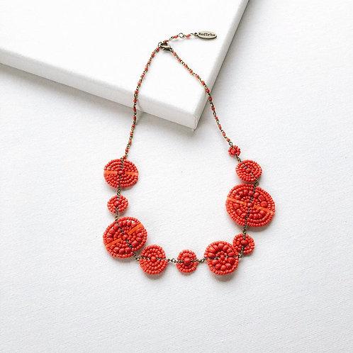Maasai Asymmetrical Beaded Necklace - Burnt Orange