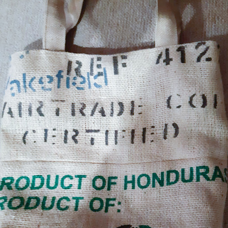 Upcycling project with coffee sacks