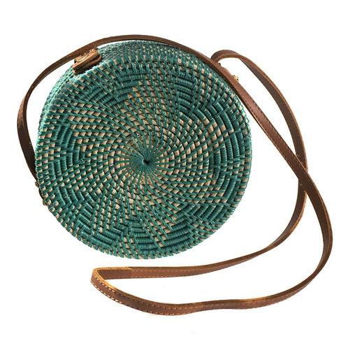 Round Rattan Bag - Green