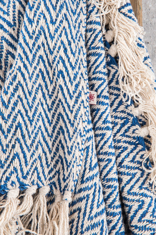 Cotton Herringbone Throw – Blue