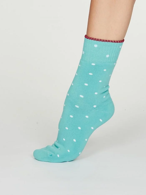 Thought Bamboo Socks - Walker Dot, Turquoise (Women's)
