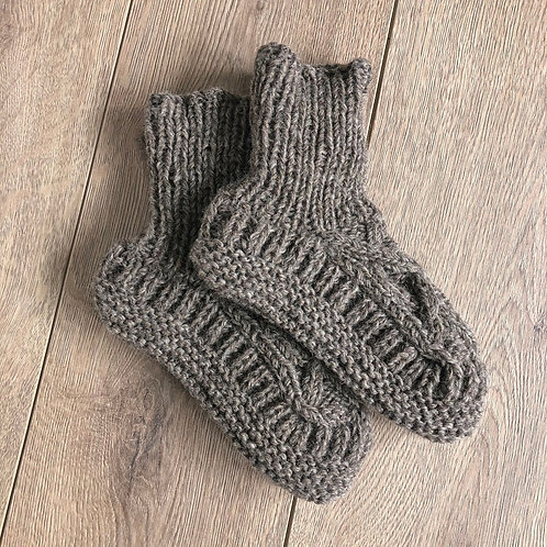 AURA QUE JANA Cable Knit Slipper Socks