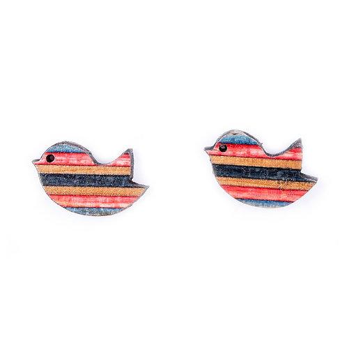 Paguro Upcycled Skateboard Stud Earrings - Little Bird