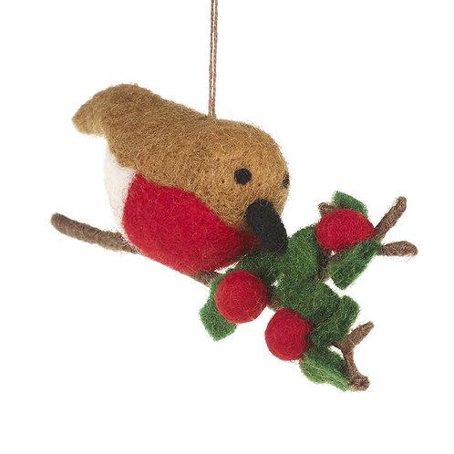 Felt Robin on a Holly Branch Decoration