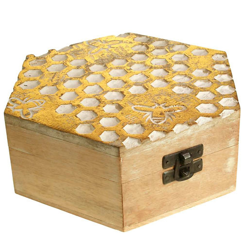Hexagonal Mango Wood Trinket Box