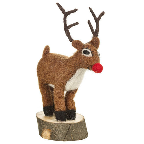 Rudolph on Wooden Base Decoration