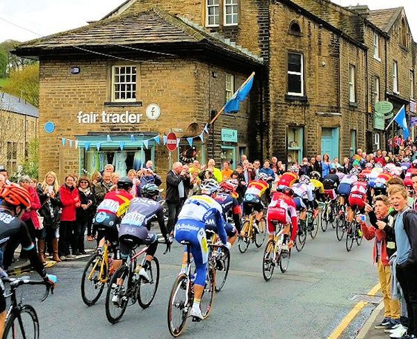 The Tour de Yorkshire passes the shop: May 2015