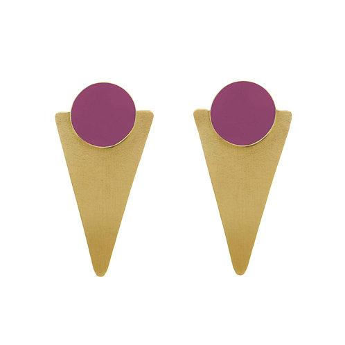 Just Trade Brass Statement Studs - Plum