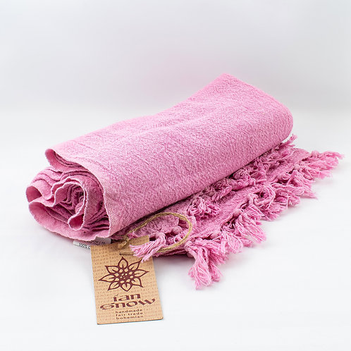 Recycled Cotton Throw with Tassels - Pink