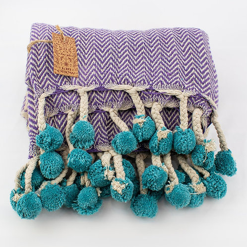 Recycled Cotton Throw with Tassels and Pompoms