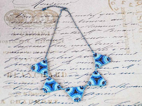 Maasai Triangle Beaded Necklace - Blue