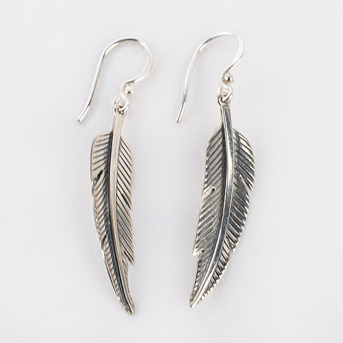 Pachamama Sterling Silver Feather Earrings