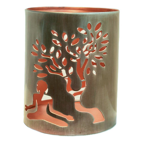 Tea Light Holder - Buddha and Tree Design