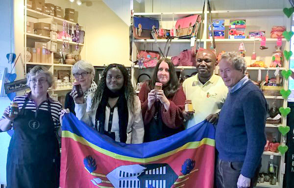 Hilary, Shelagh, Bosie, Emma, Vusie and John flying the flag for Swaziland and Eswatini in Fair Trader