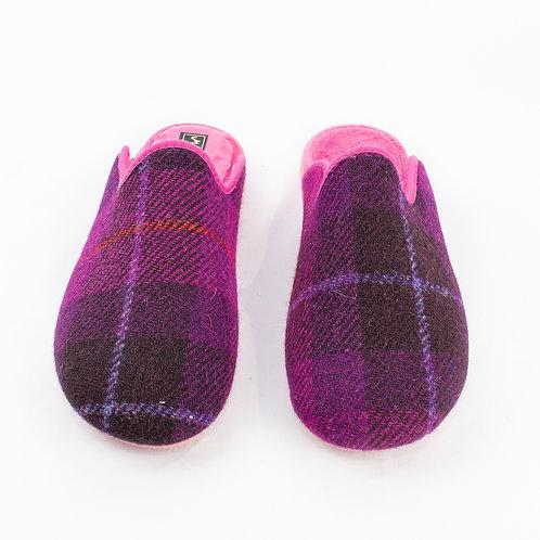 Peter James Ladies' Tweed Slippers - Cerise