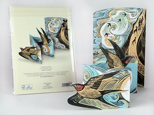Pop-Out Cornish Swallows Card