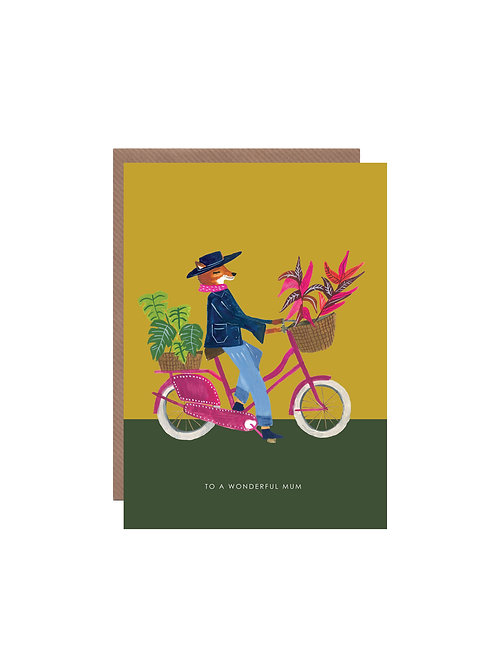 Fox on Bike Mother's Day Card