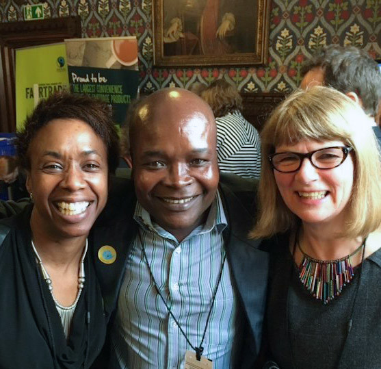Patrick Kaberia Muthaura, Kenyan tea producer, with Michelle and Kathryn from Fair Trader