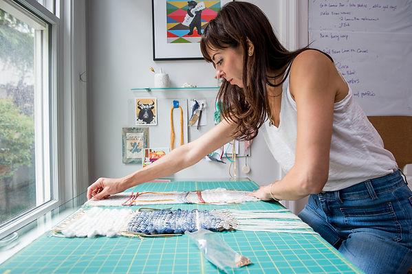 Artist Steffanie Goodman creating new woven art