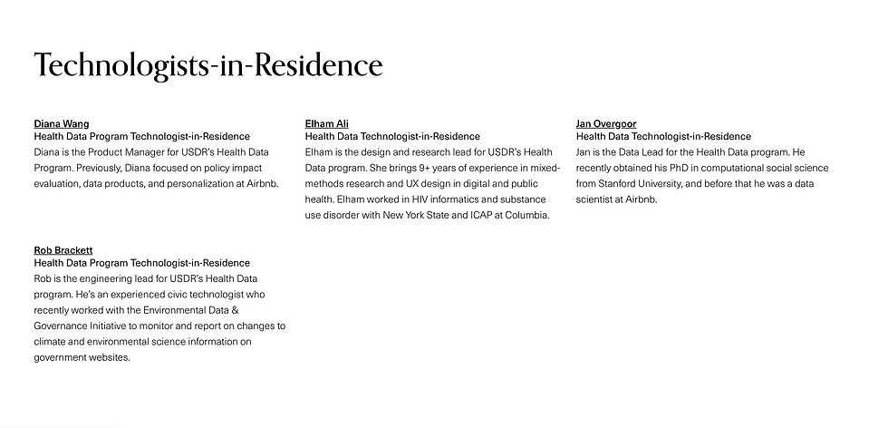 USDR Technologists-in-residence in healt