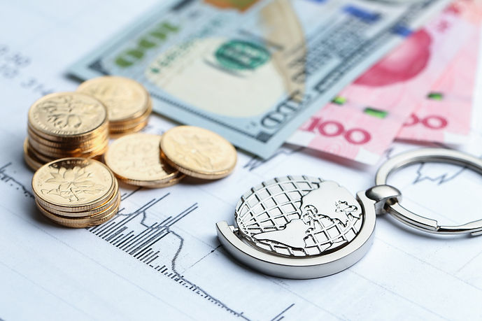 coins-paper-money-globe-white-statistic-