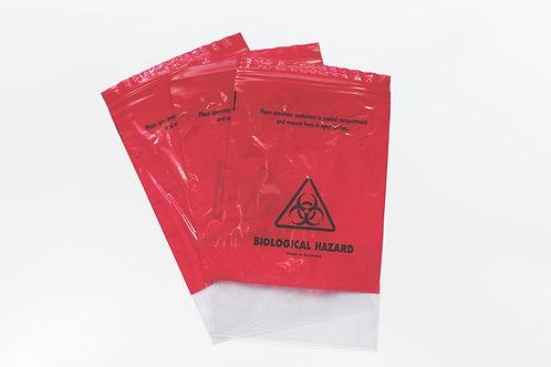 Red Specimen Bag: 160x200(+240)x45um (2000pcs) - 20% OFF
