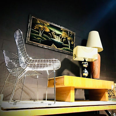 Bertoia Style Wire Chair, Wood Coffee Table, Two Lamps and Wall Art