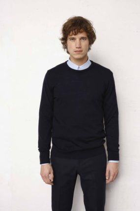 Pull Germain col rond navy