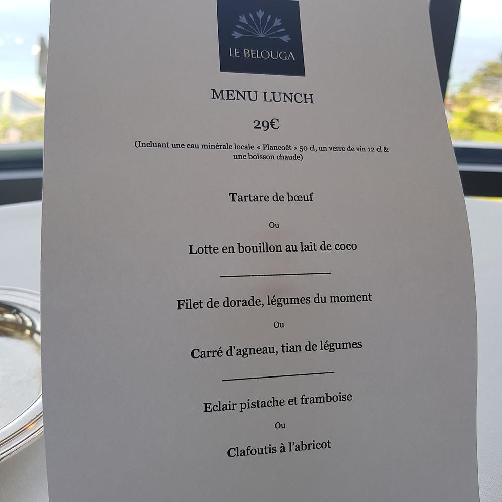 Menu Lunch restaurant Le Bélouga hôtel Agapa