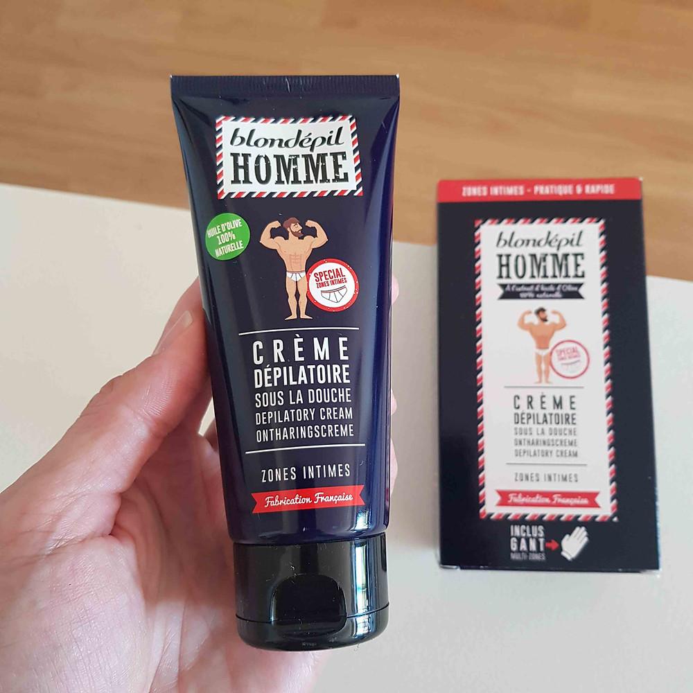 crème dépilatoire pour zones intimes de Blondépil Homme