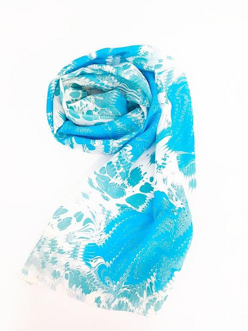 Kate ecru large silk scarf marbling buy online