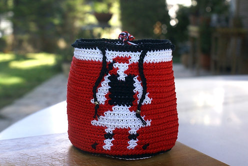 Red crochet small pouch bag with Evzon