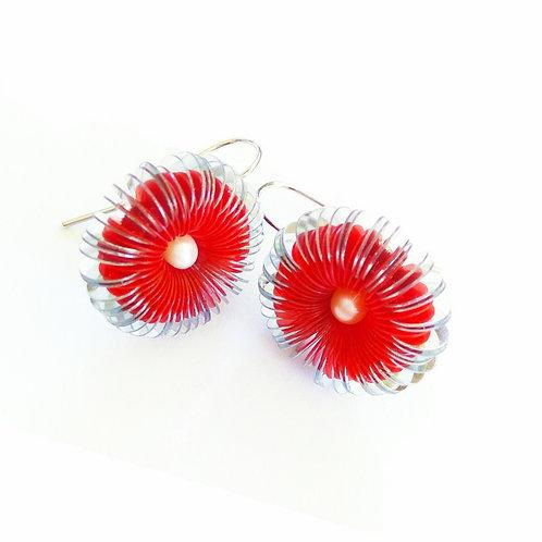 contemporary greek jewelry Misineza vinyl urchin dangling earrings