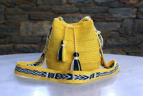 Yellow Crochet handmade Crossbody Bag