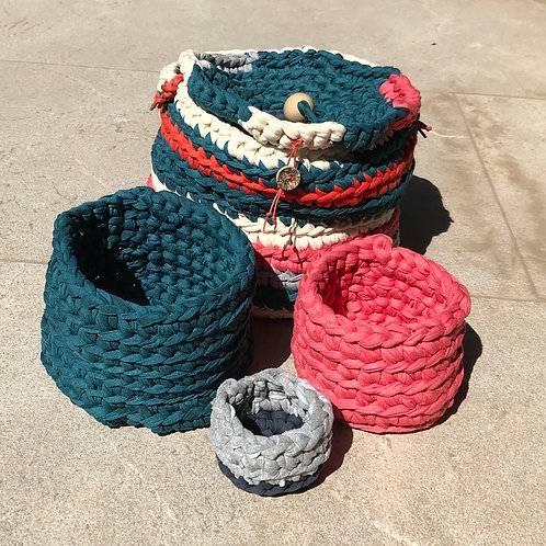 Crochet Multipurpose Basket Set by t-shirt yarn