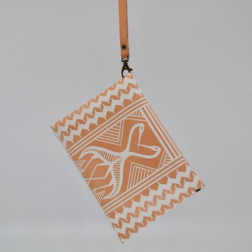 Greek Convertible Geometric Leather Clutch